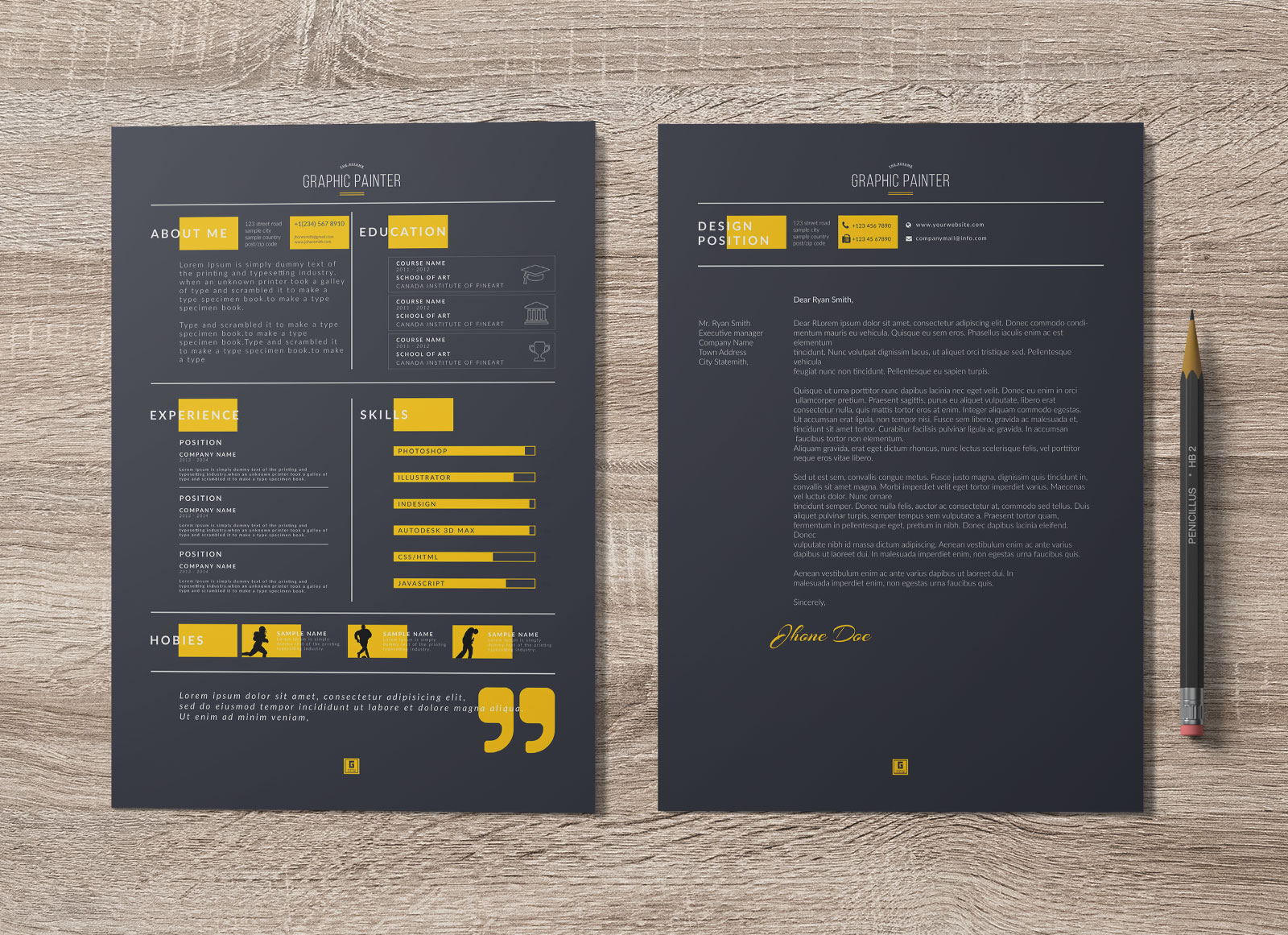 Free Dark Light PSD Word Resume Template Cover Letter Portfolio Design