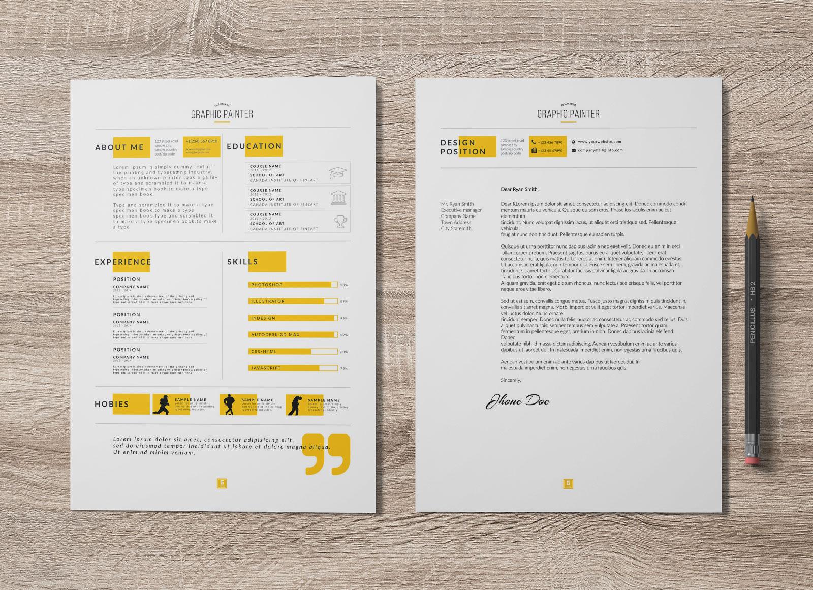 Free Dark Light Psd Word Resume Template Cover Letter