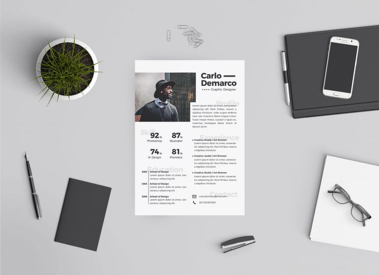 Free Modern Resume For Job In Ai Format For Interior Designers & Graphic Designers