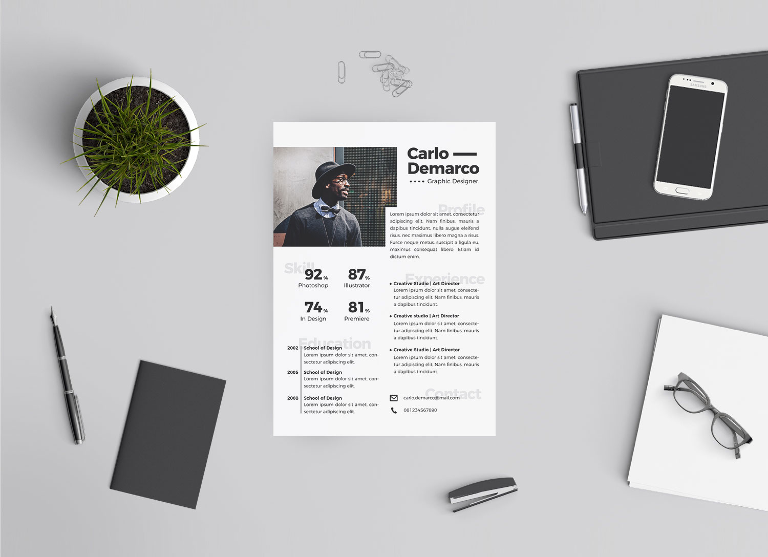 free modern resume for job in ai format for interior designers  u0026 graphic designers