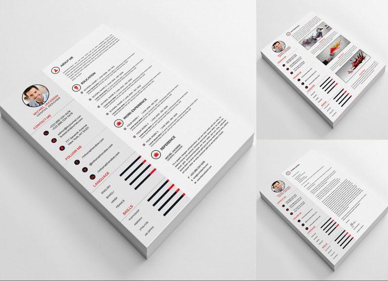 Free PSD CV/ Template, Cover Letter & Portfolio Design For Graphic Designers