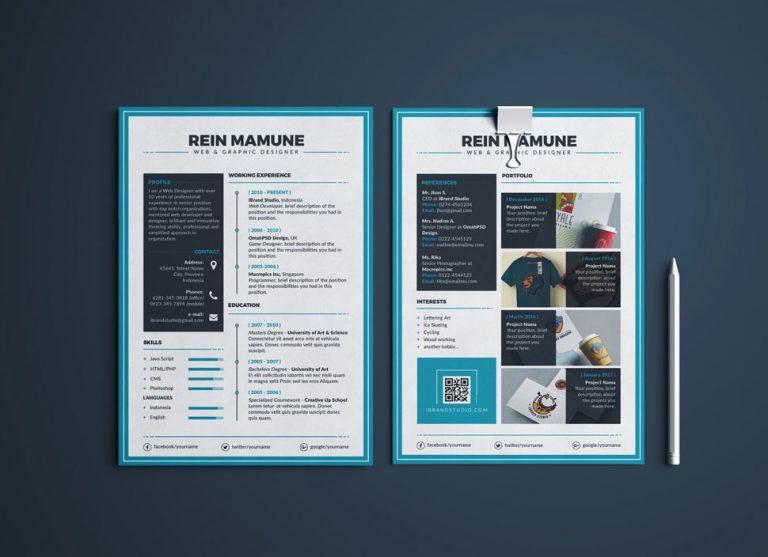 Free Perfect Resume Template, Cover Letter & Portfolio Design For Web & Graphic Designers