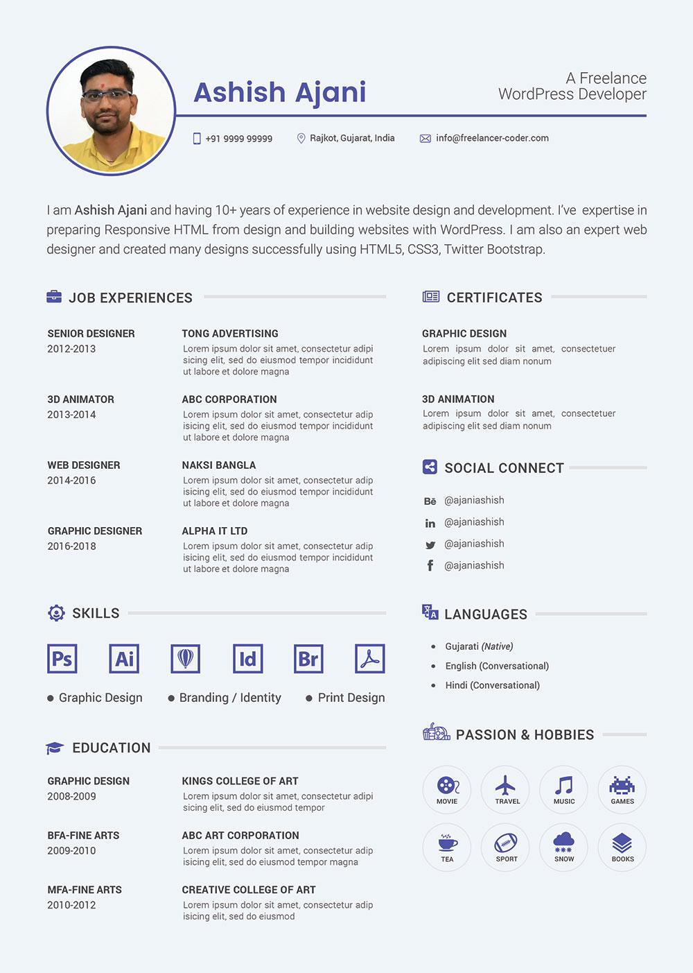 Free-PSD-Resume-Template-&-Cover-Letter-for-PHP-&-Wordpress-Developer-1