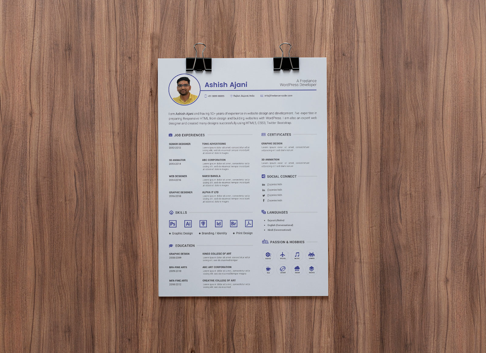 Free PSD Resume Template U0026 Cover Letter For PHP U0026 WordPress Developer