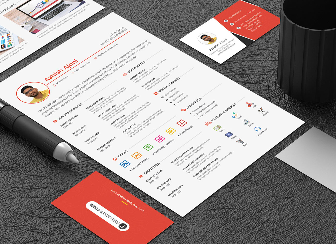 Free-PSD-Resume-Template-&-Cover-Letter-for-PHP-&-Wordpress-Developer-5