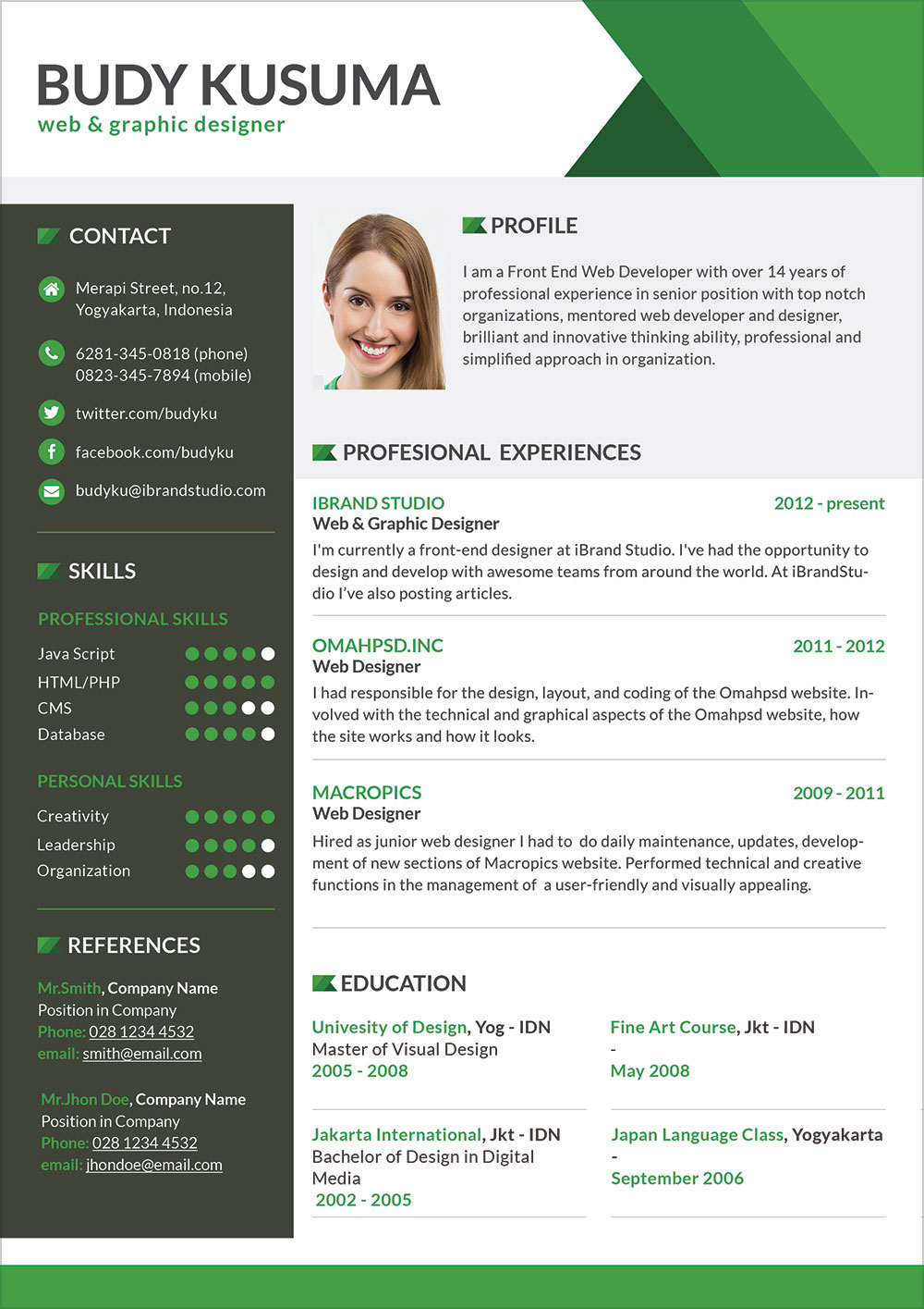 Free Professional Resume Template For Job In Photoshop Psd Format