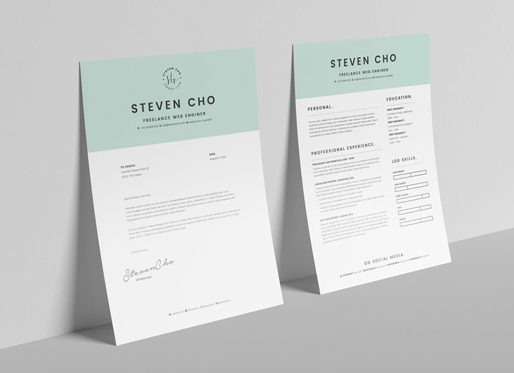 free resume template  u0026 cover letter in indd  u0026 word for
