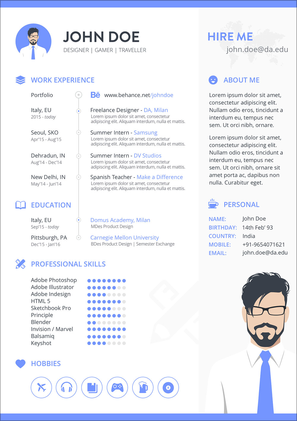 Free-Resume-Template-in-Sketch-for-Gamer-&-Designer-2