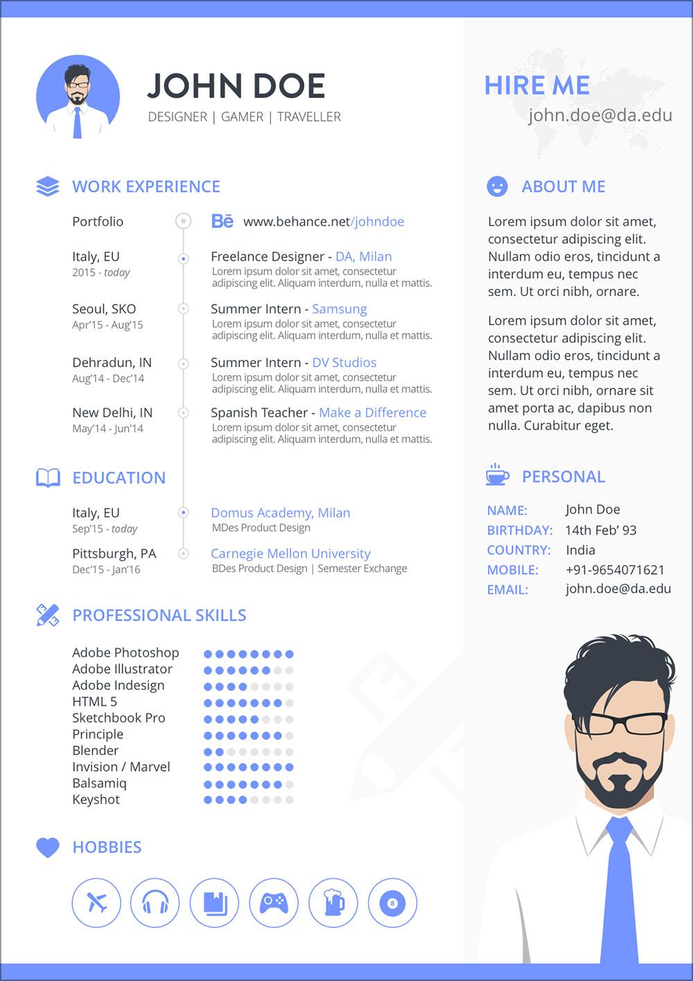 Free-Resume-Template-in-Sketch-for-Gamer-&-Designer-2