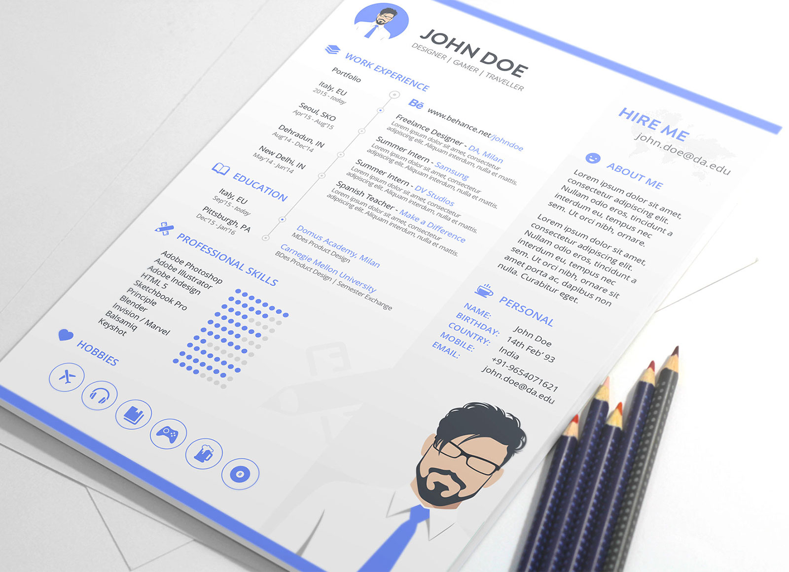 Free-Resume-Template-in-Sketch-for-Gamer-&-Designer