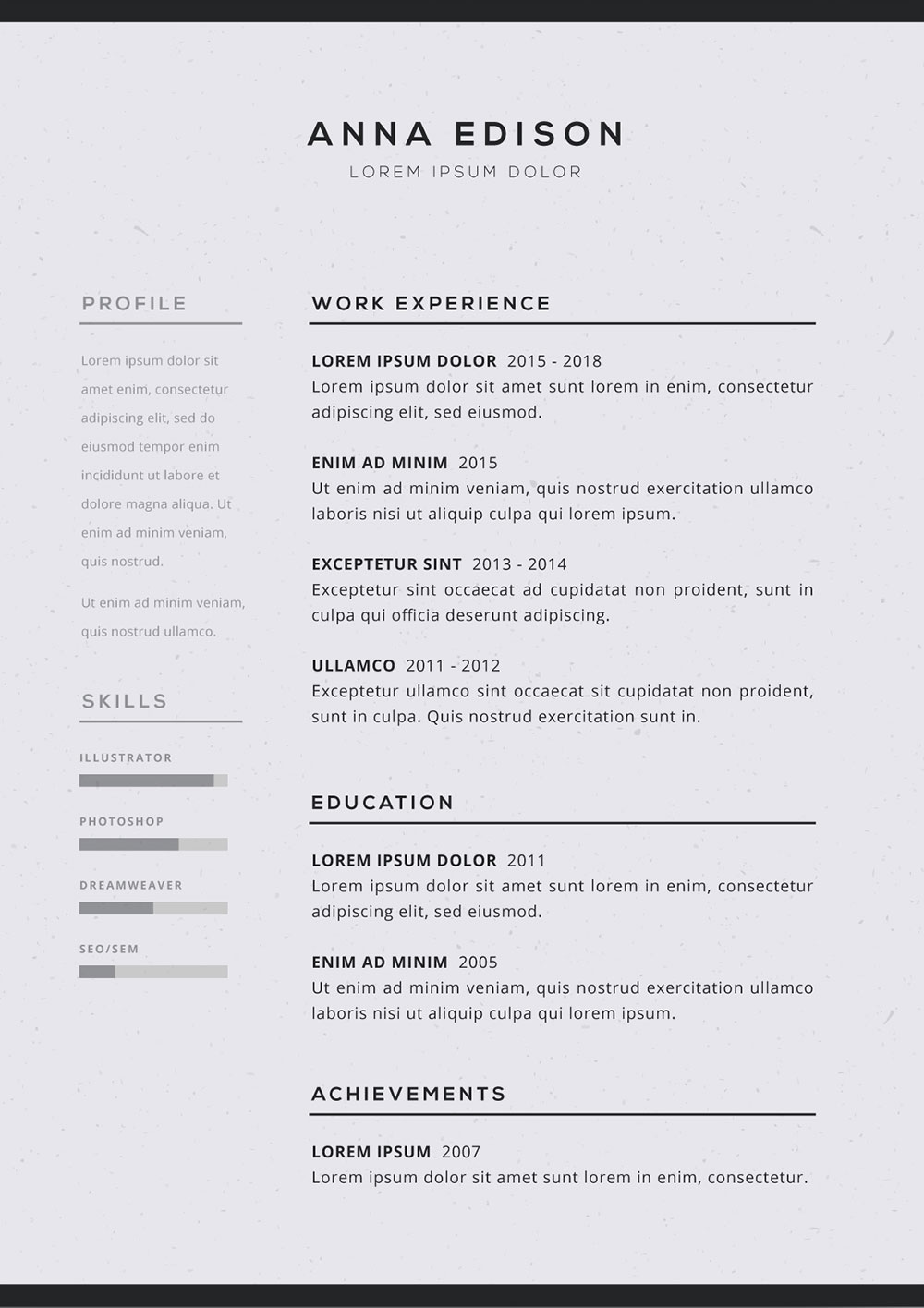 free black and white curriculum resume template