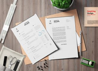 Free Simple Resume & Cover Letter in INDD, IDML, DOC & DOCX (1)
