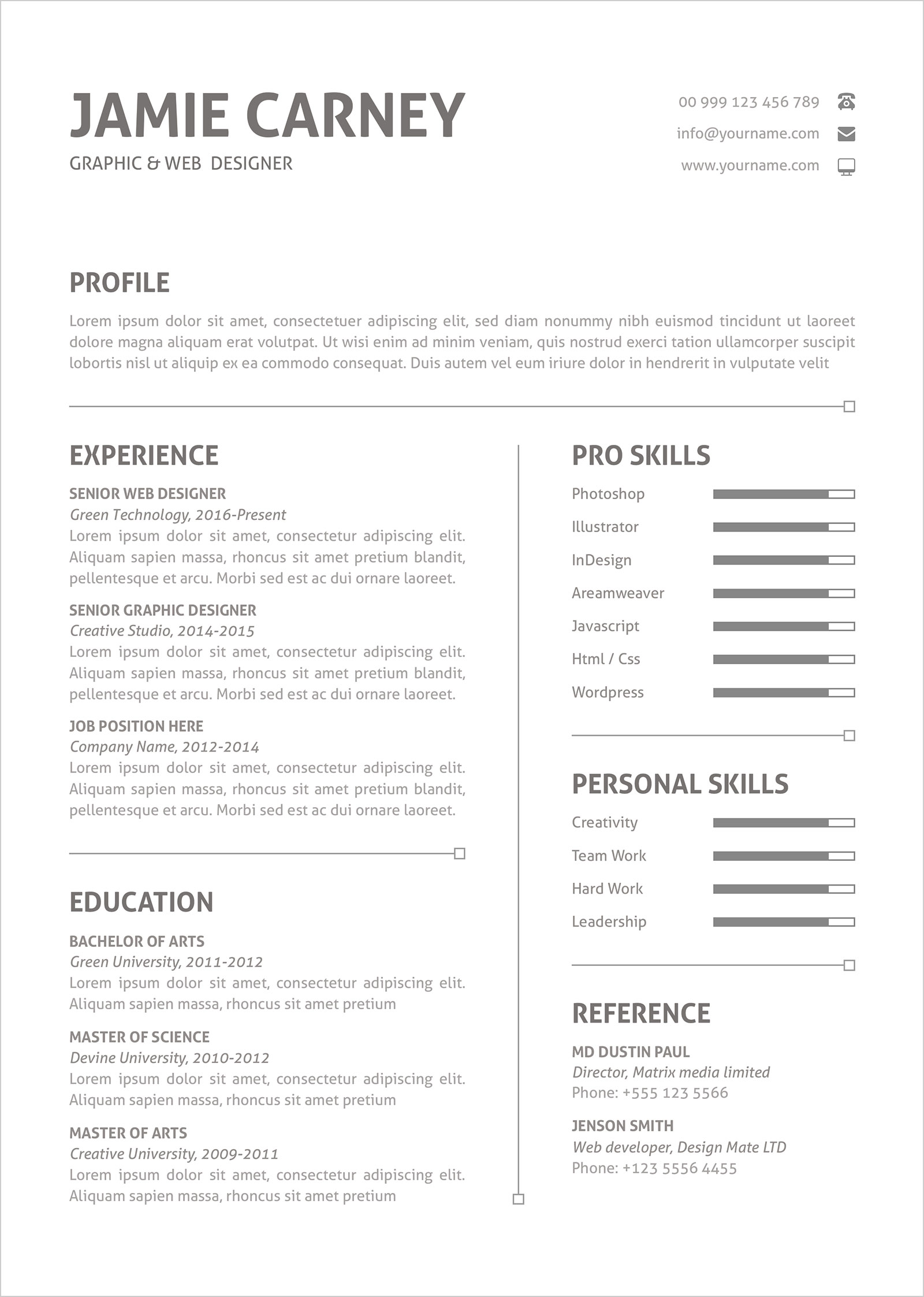 Free Simple Perfect Resume Layout Template And Cover Letter In Ai ...